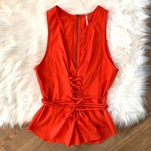 Free People Lace Up Corset Tank